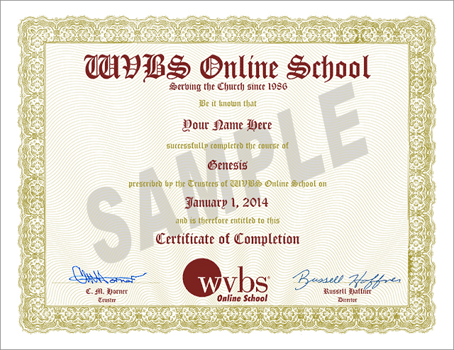 Sample Completion Certificate from WVBS Online Bible School
