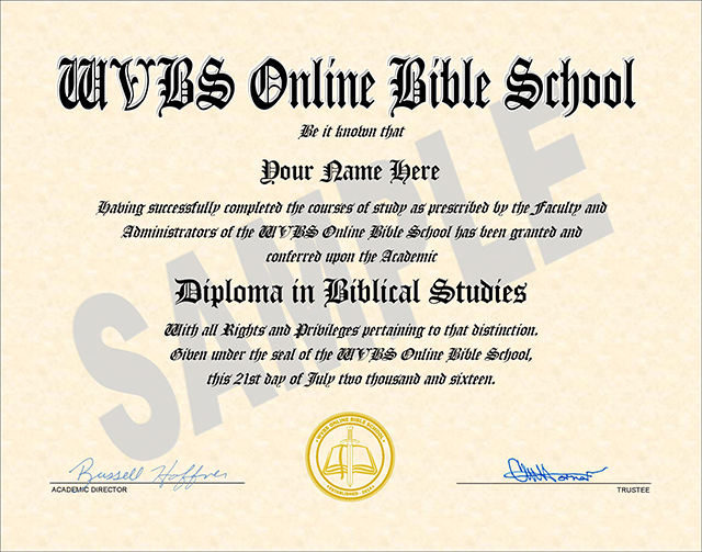 Sample Diploma from WVBS Online Bible School