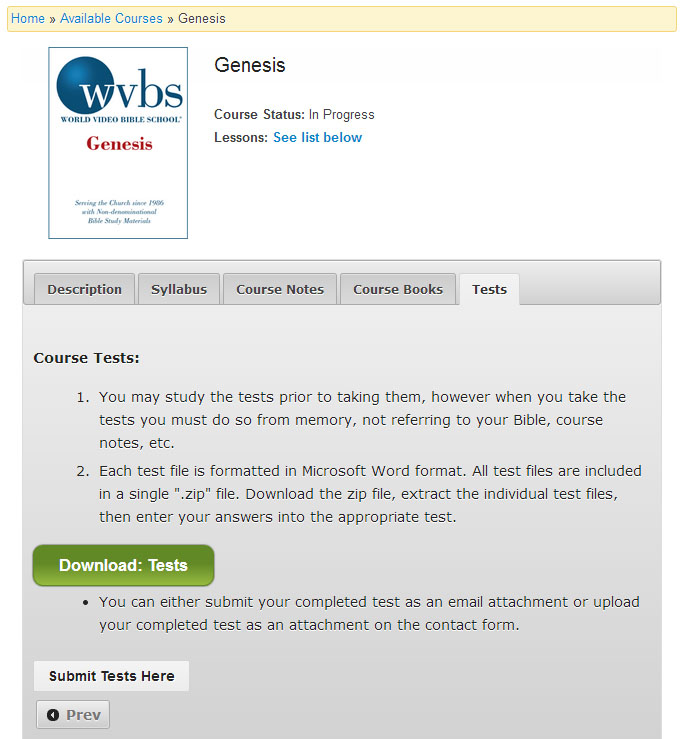 How-to: Testing Process - WVBS Online Bible School